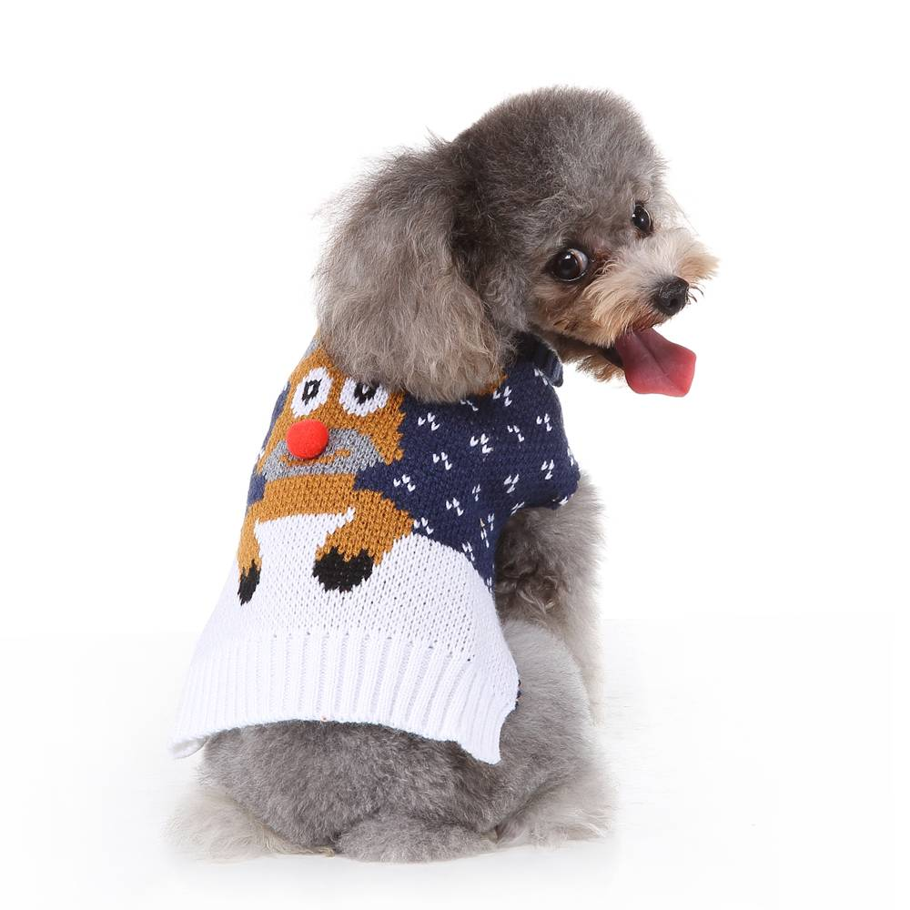 Christmas Pet Dog Puppy Clothes Red Nose Elk Knit Sweater Jumper Pullover Outfit 23