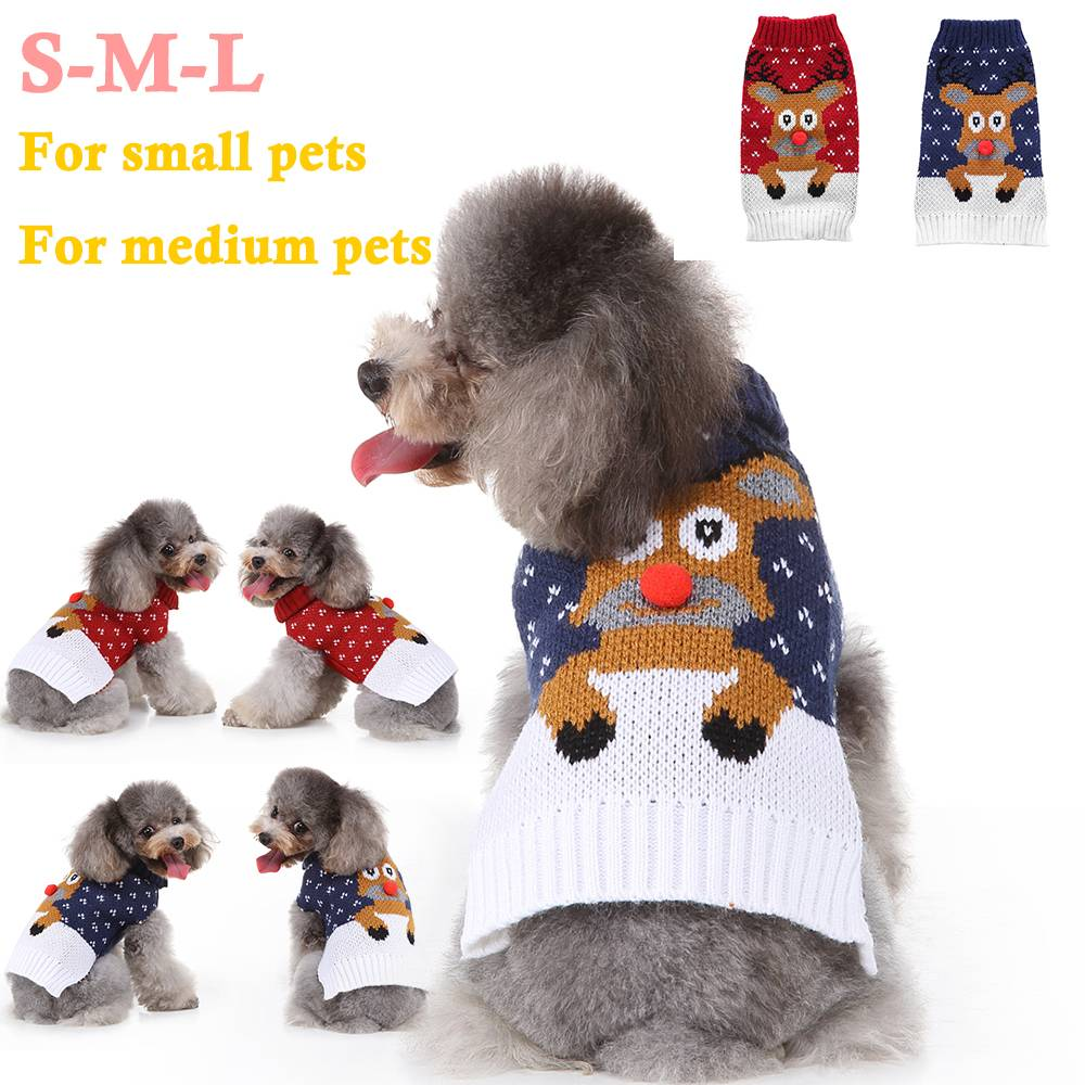 Christmas Pet Dog Puppy Clothes Red Nose Elk Knit Sweater Jumper Pullover Outfit 17
