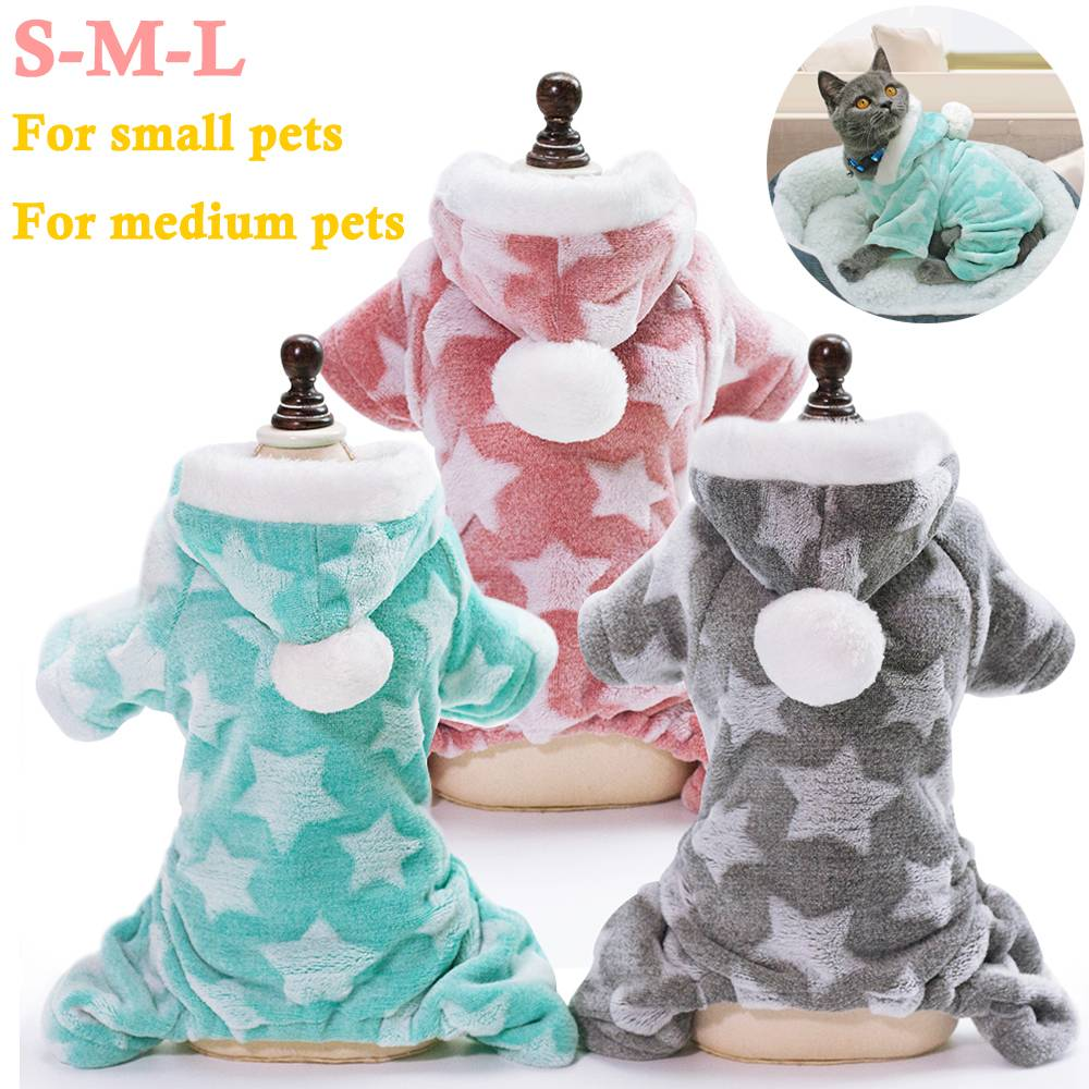 Winter Dog Coats Pet Cat Puppy Chihuahua Clothes Stars Hoodie Warm for Small Dog 3