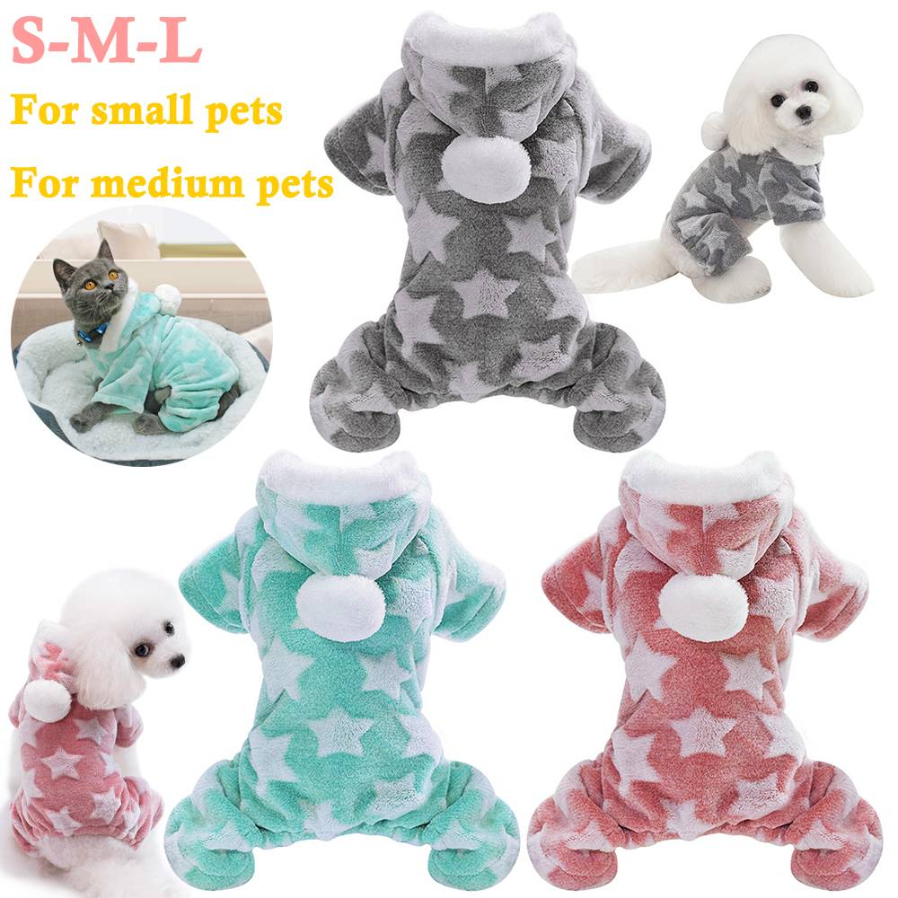 Winter Dog Coats Pet Cat Puppy Chihuahua Clothes Stars Hoodie Warm for Small Dog 4