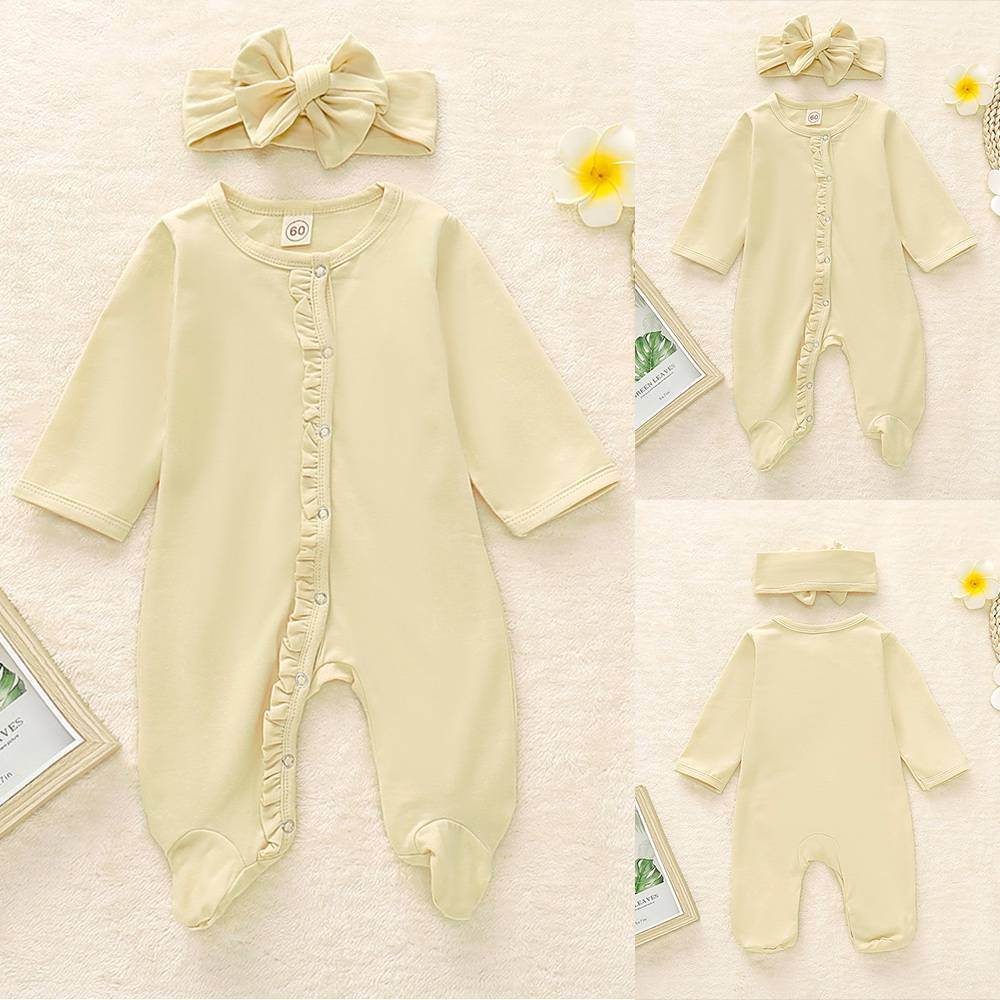 Infant Baby Girls Long Sleeve Flouncing Solid Rompers Bodysuit+Headband 2Pcs Set
