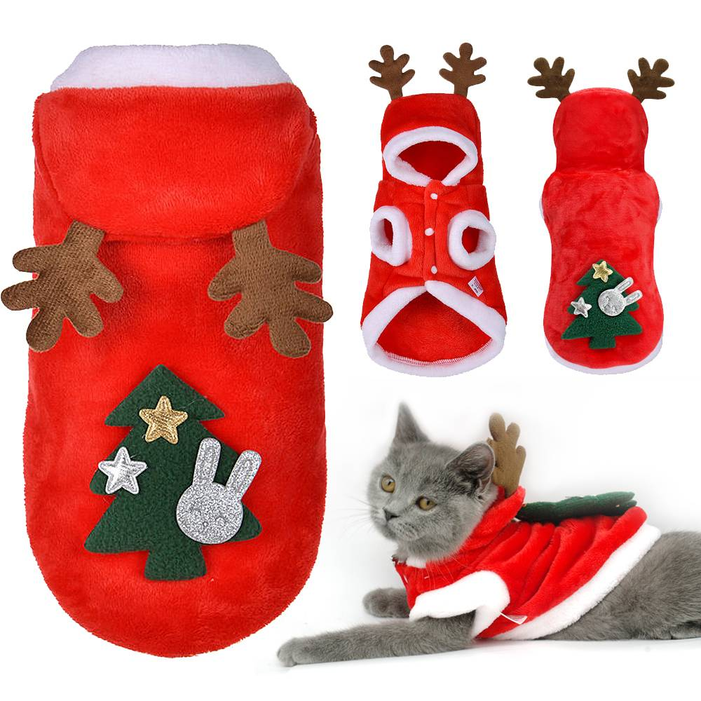 UK Pet Cat Dog Christmas Outfit Costumes Reindeer Hoodie Dress Xmas Clothes Coat 18