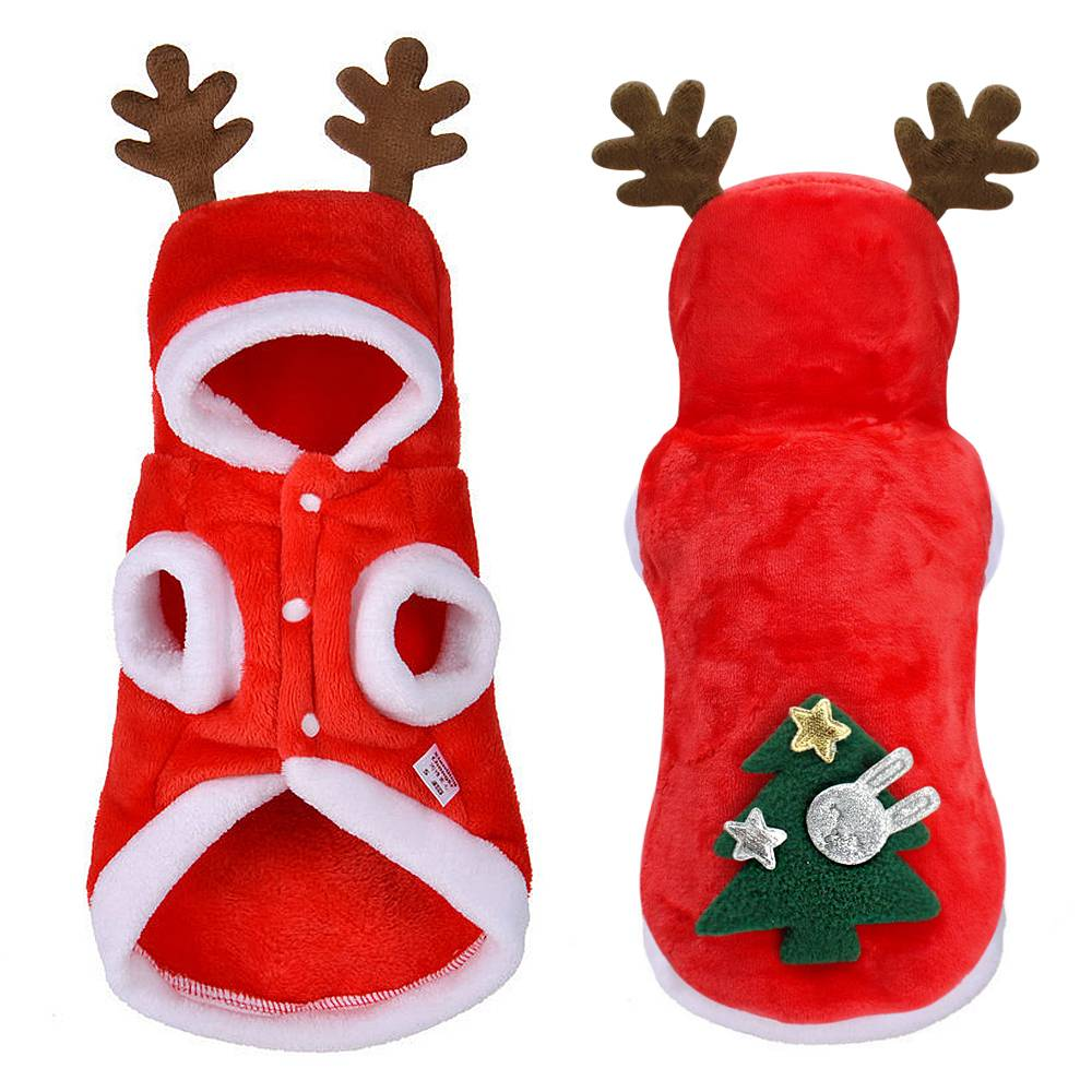 Christmas Pet Dog Cat Clothes Warm Deer Horn Hoodie Kitten Xmas Costume Outfits 5