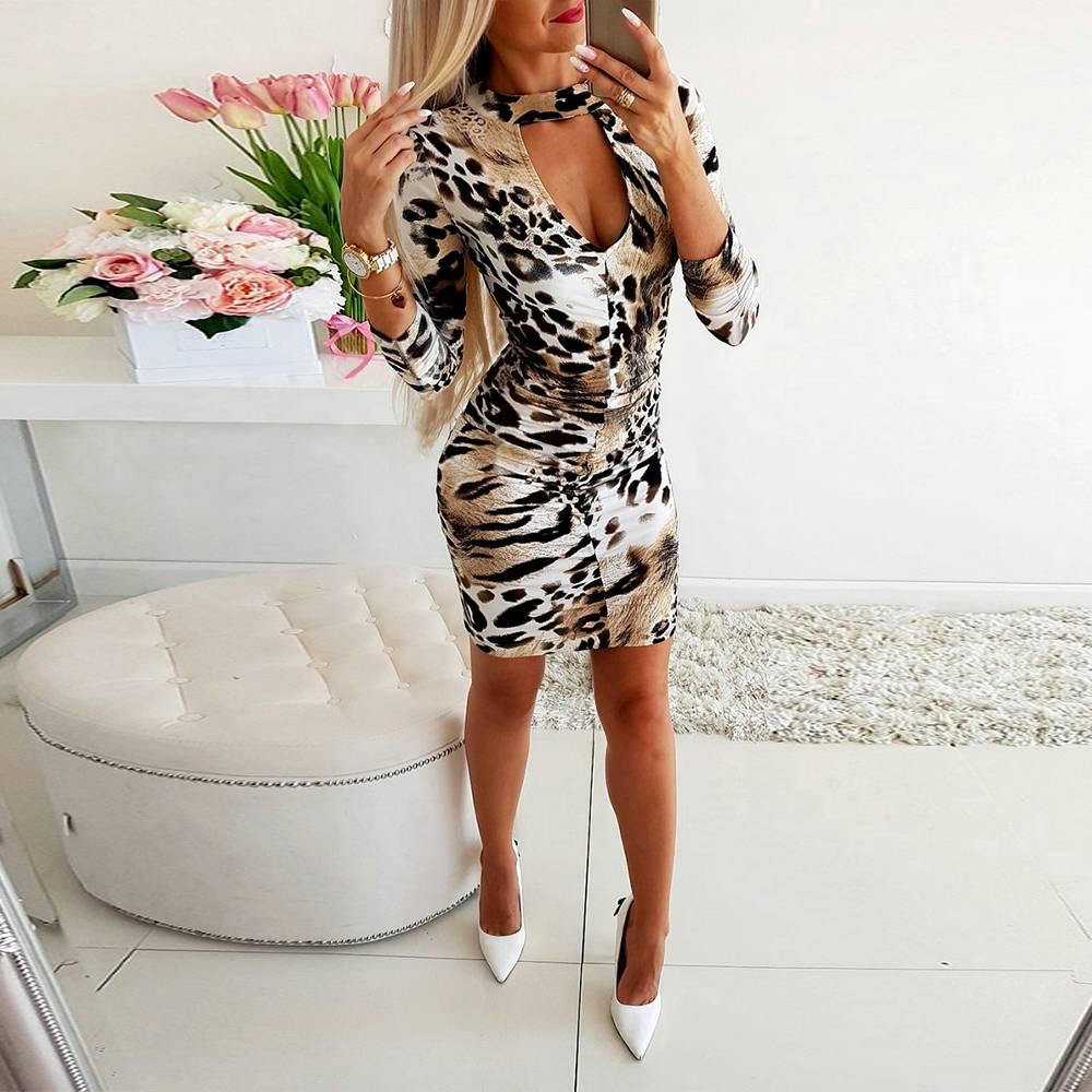 Womens Animal Print Side Contrast Cap Sleeve Slim Fit Ladies Bodycon Short Dress