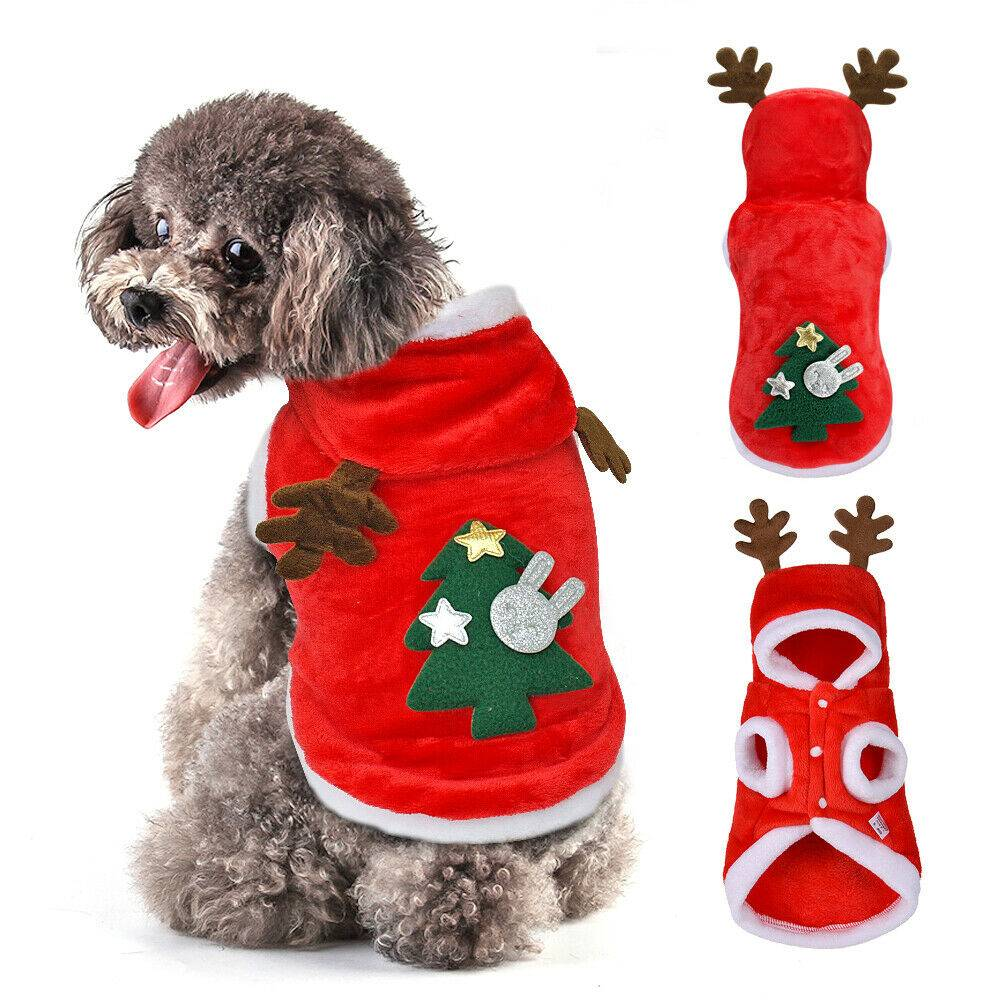 Christmas Pet Dog Cat Clothes Warm Deer Horn Hoodie Kitten Xmas Costume Outfits 6