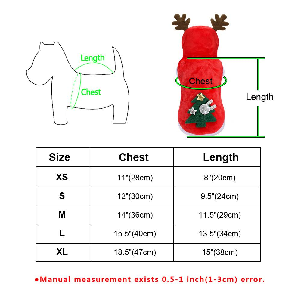Christmas Pet Dog Cat Clothes Warm Deer Horn Hoodie Kitten Xmas Costume Outfits 3