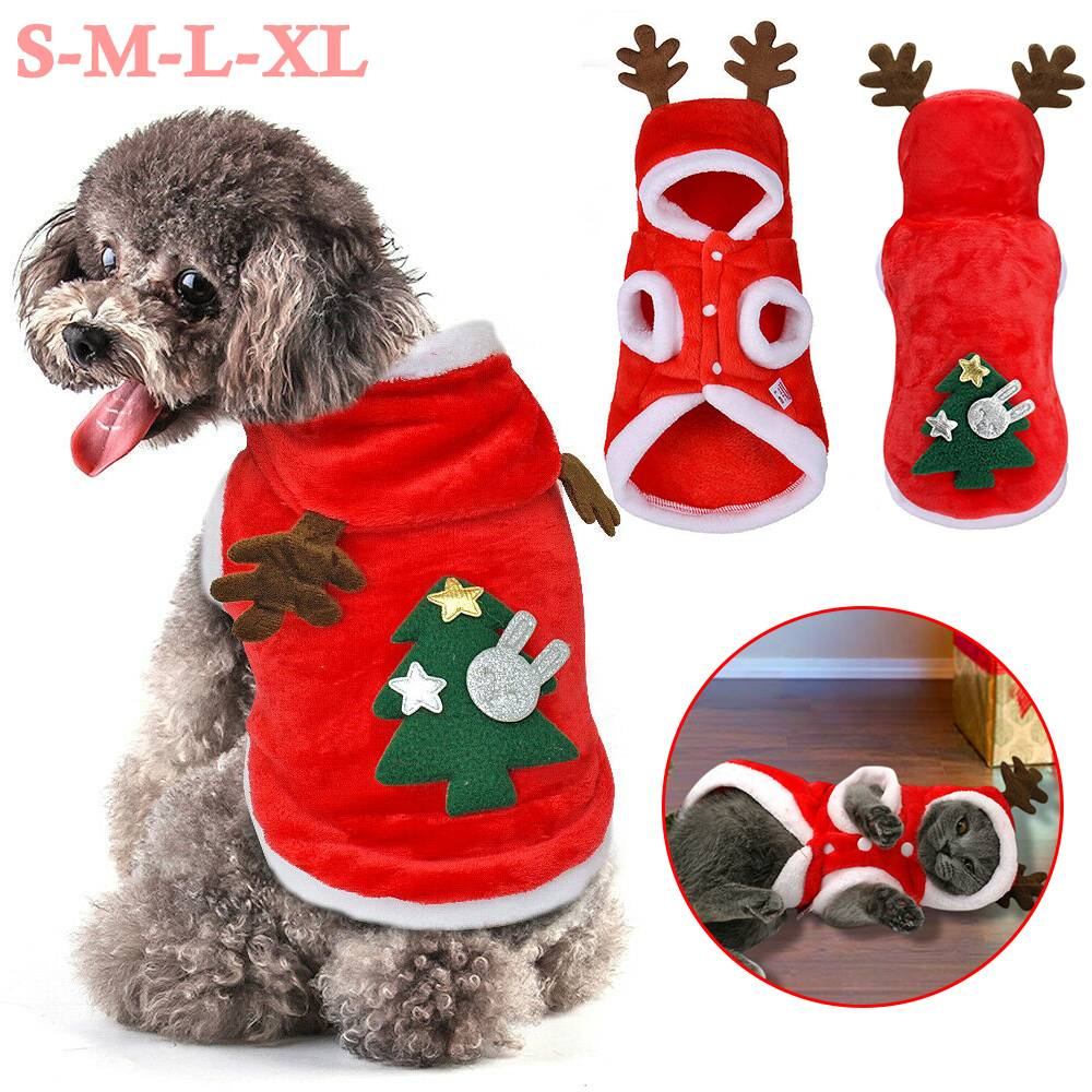 UK Pet Cat Dog Christmas Outfit Costumes Reindeer Hoodie Dress Xmas Clothes Coat 17