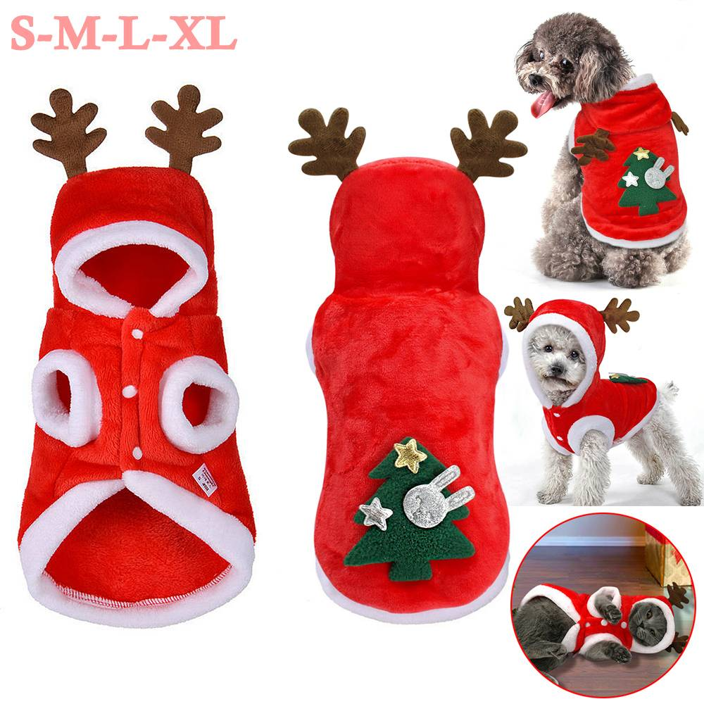 UK Pet Cat Dog Christmas Outfit Costumes Reindeer Hoodie Dress Xmas Clothes Coat 16