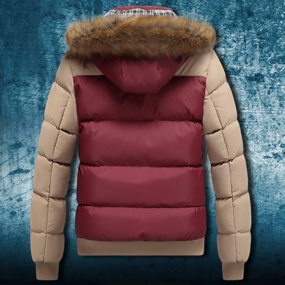 Men Winter Fur Collar Hooded Thicken Padded Jacket Zip Puffer Warm Outwear Coat