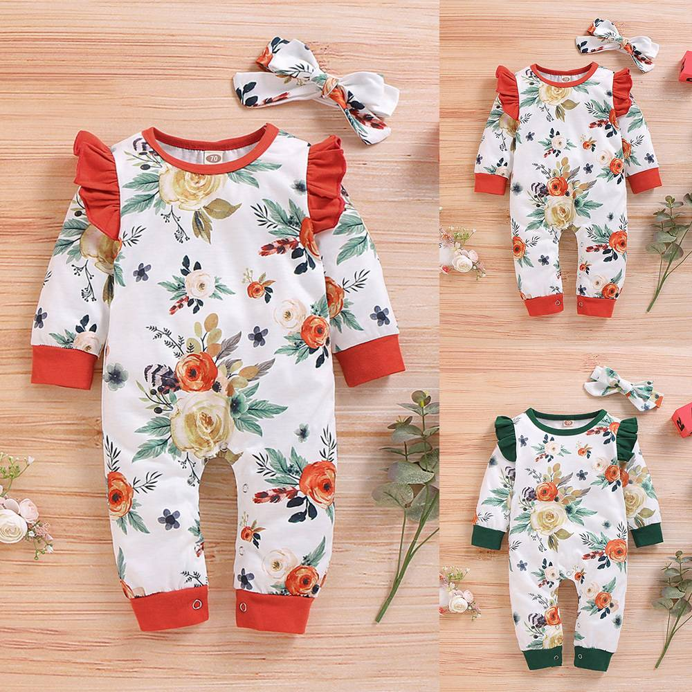 Newborn Infant Baby Girl Long Sleeve Romper Jumpsuit Floral Dress Outfit Clothes