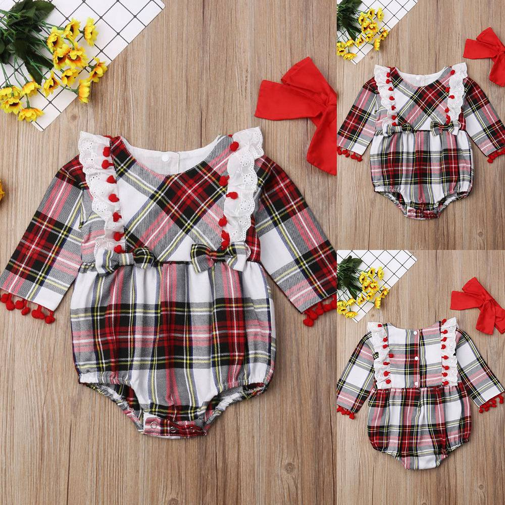 Toddler Baby Girls Boys Plaid Romper Jumpsuit Bodysuit Headband 2Pcs Set Outfits