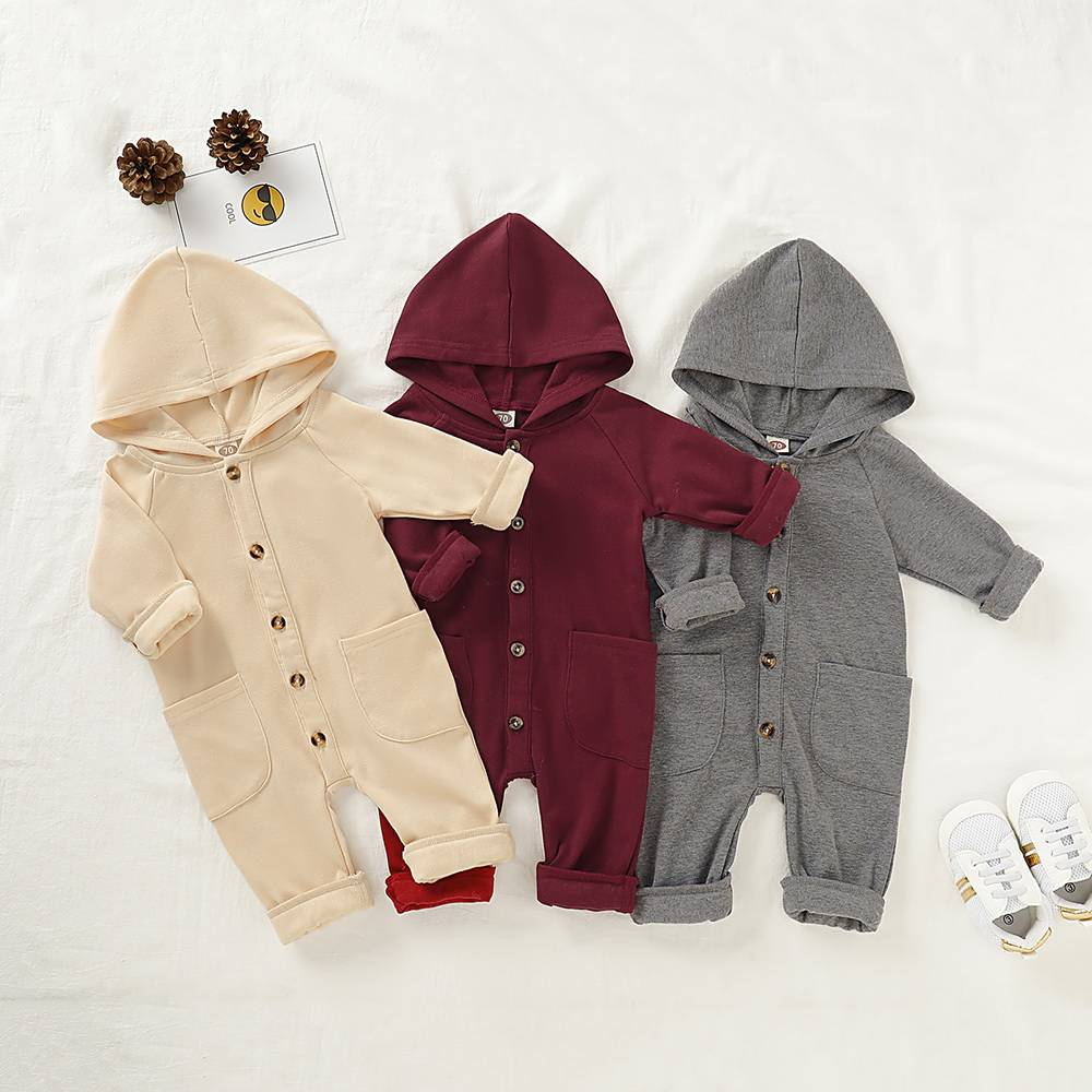 Babies Boys And Girls Hooded Jumpsuit Hoodies Romper Grows Playsuit Clothes UK