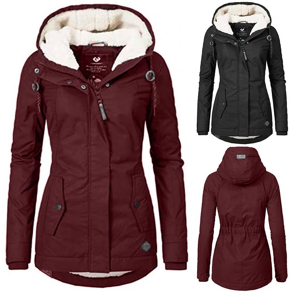 Womens Coat Fleece Lined Hooded Parka Coat Jacket Ladies Winter Warm Zip Outwear