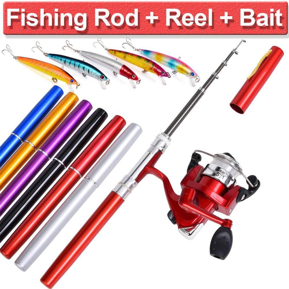Mini Pocket Size Pen Type Fishing Rod Telescopic Fishing Pole Rod TackleGP