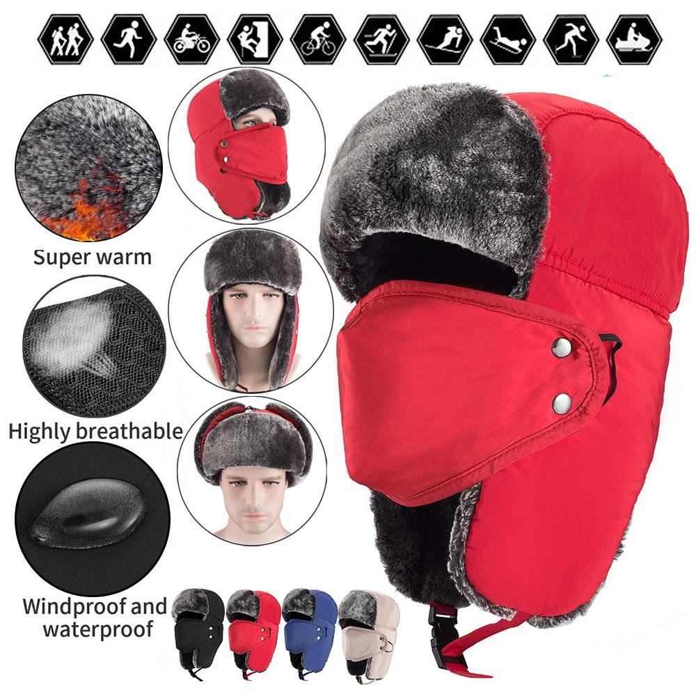Mens Trapper Winter Hat Face Mask Warm Earflap Aviator Russian Trooper Ski Cap
