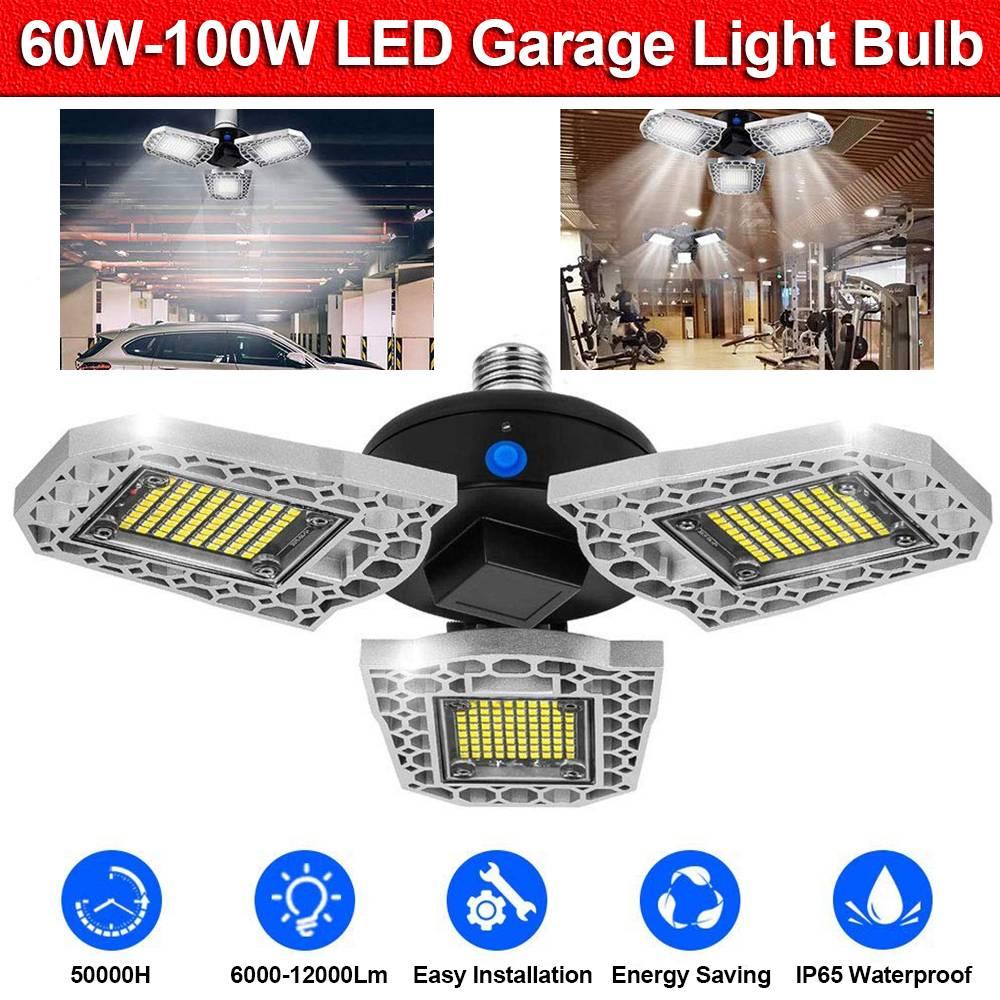 No Motion Detection Deformable Garage Light 12500LM 100W Warm White Shop Lights for Garage Led Garage Lights with 3 Adjustable Panels,Garage Ceiling Light for Workshop//Basement Garage Lighting