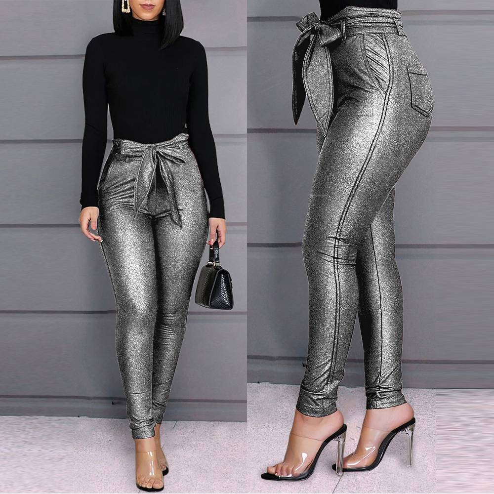 Womens Skinny Tight Trousers High Waist