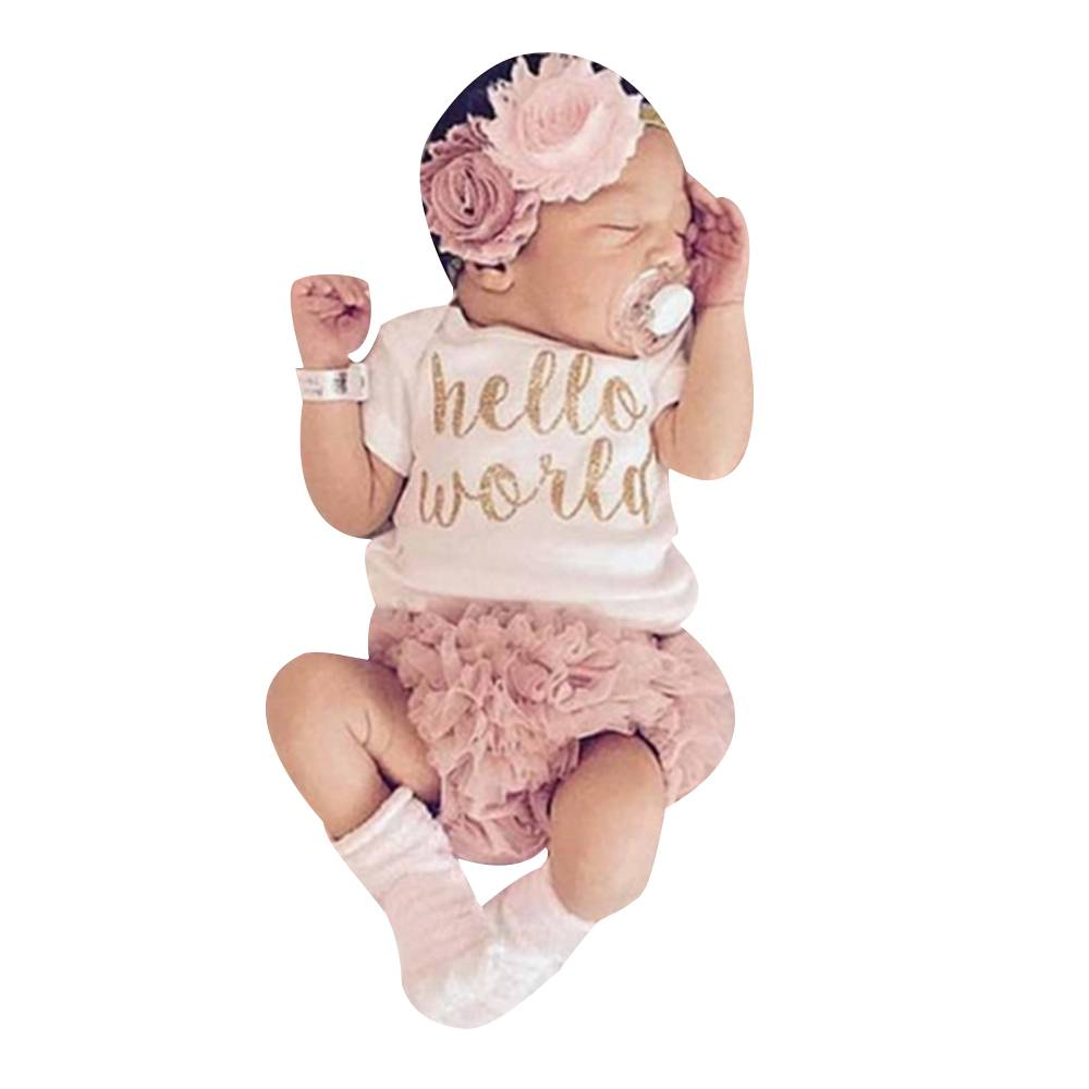 Newborn Baby Girls Clothes Set Romper Bodysuit+Tutu Dress+ Headband Outfits UK