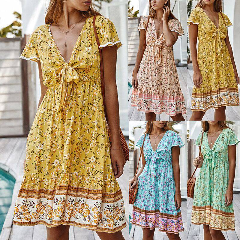 Womens Boho Floral Bodycon Tunic Mini Dress Casual Summer Beach Swing Sundress