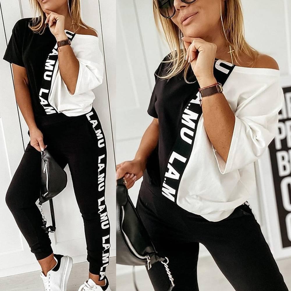 Plus Size 2PCS Womens Letter Print Tracksuits Hoodie Top Pant Set Lounge Wear