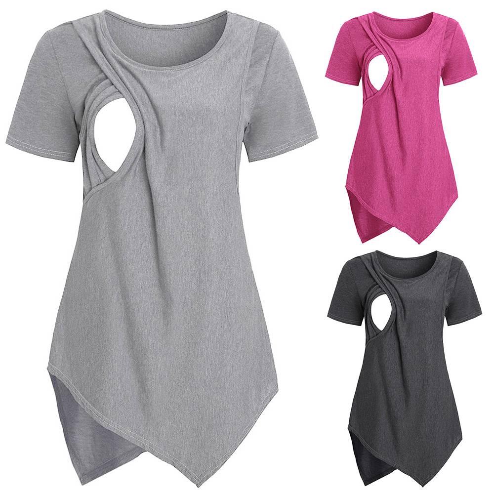 Women Maternity Clothes Short sleeve Pregnant Nursing Baby Blouse T-Shirt Top