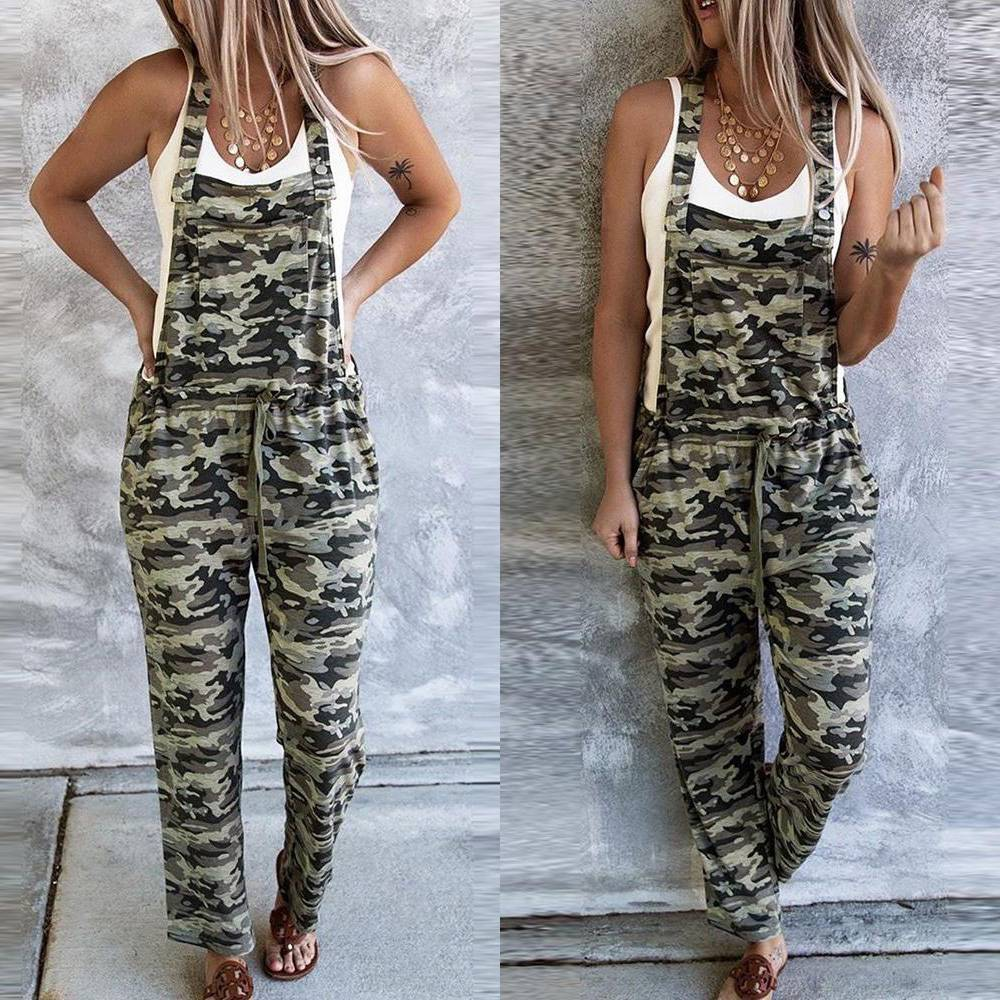 Fashion Women/'s Camo Strappy Casual Loose Jumpsuit Playsuit Trousers Overalls