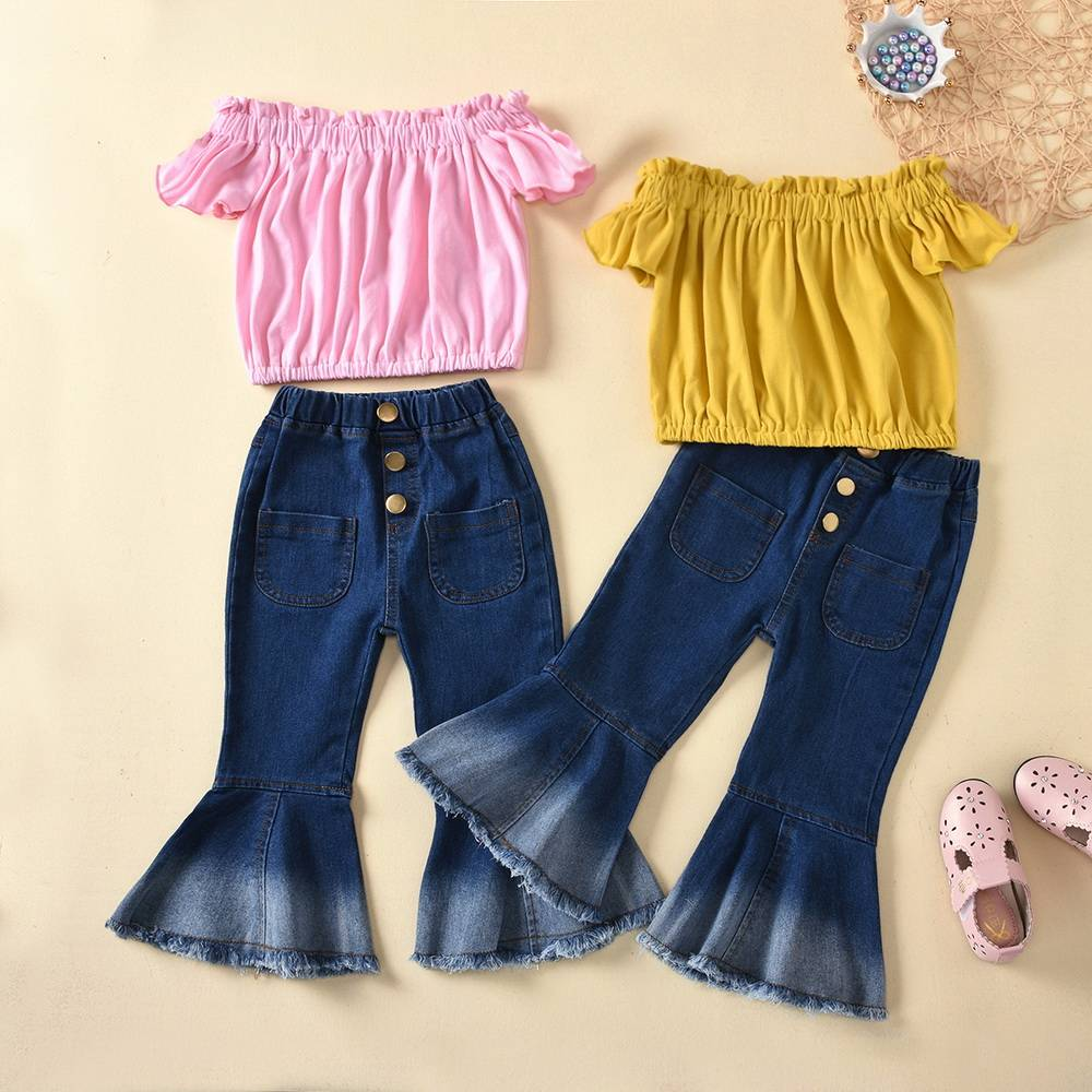 Baby Girls Ruffles T-Shirt Cartoon Vest Short PP Pants Bowknot Shorts Outfit Set