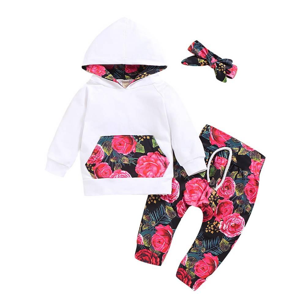 Livingsenburg Baby M/ädchen Langarm Red Romper Floral Hose Stirnband 3 St/ück Kleinkind Kurzarm Tops Hosen Outfits Set f/ür 0-24 Monate