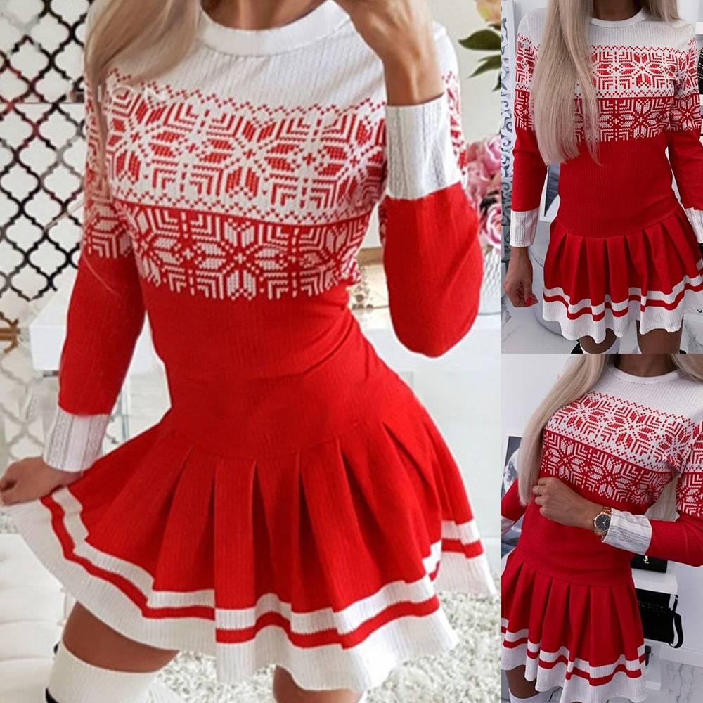 Damen Weihnachten Swing Kleider Skaterkleid Minikleid ...