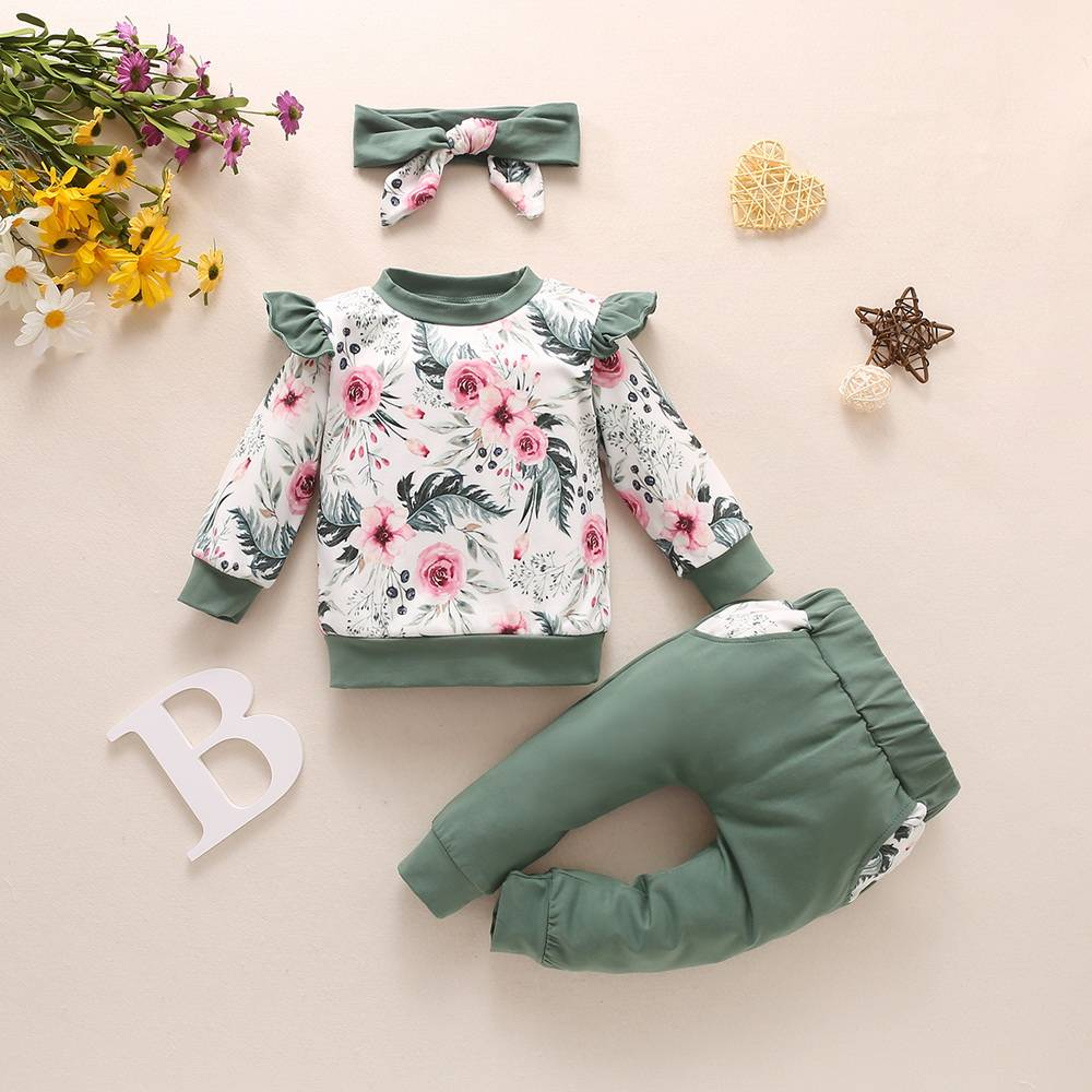 3pcs Newborn Baby Girls Kid Romper Floral Tops Pants Headband Clothes Outfit Set