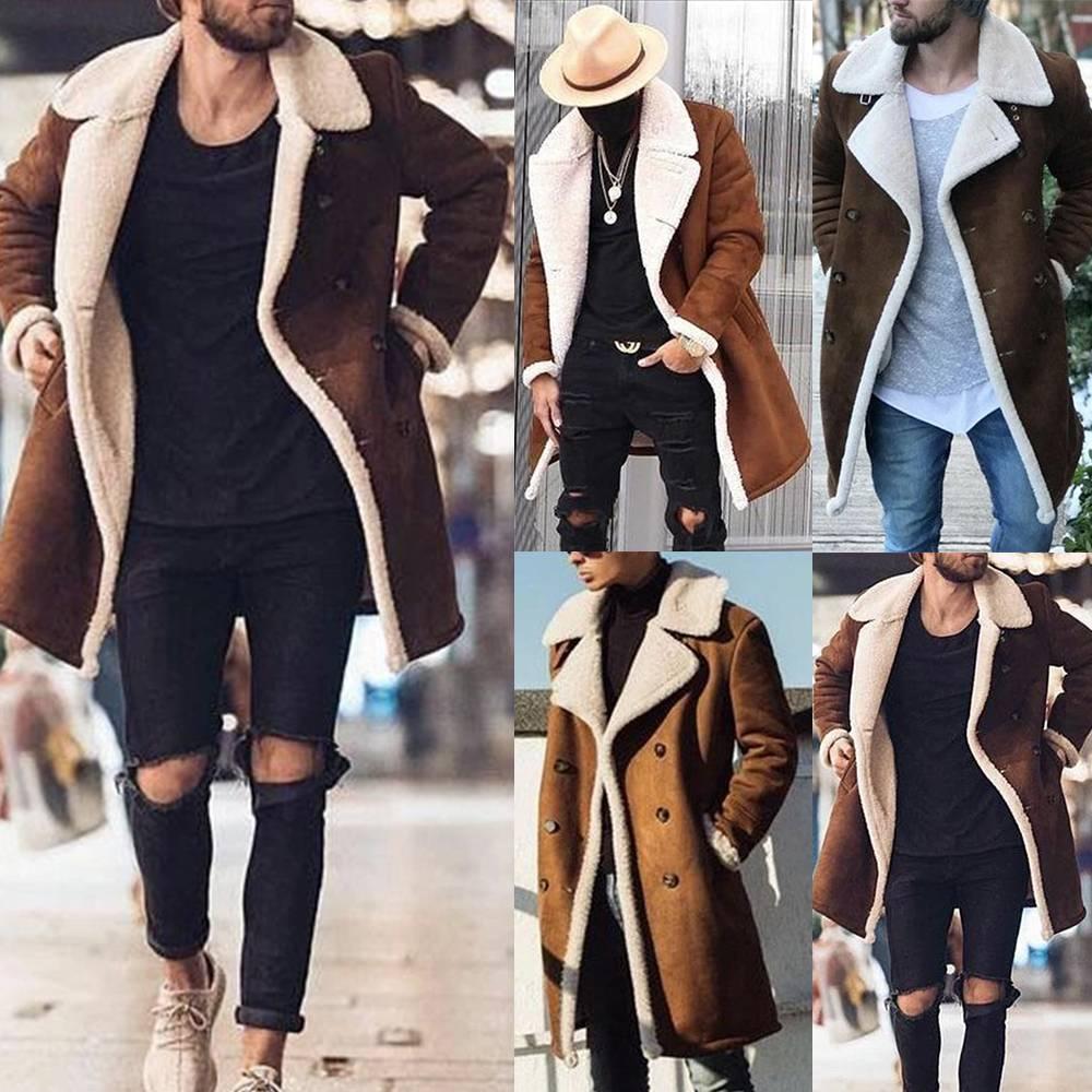 Men Winter Wool Fleece Fur Jackets Trench Coat Overcoat Parka Coats Long Outwear